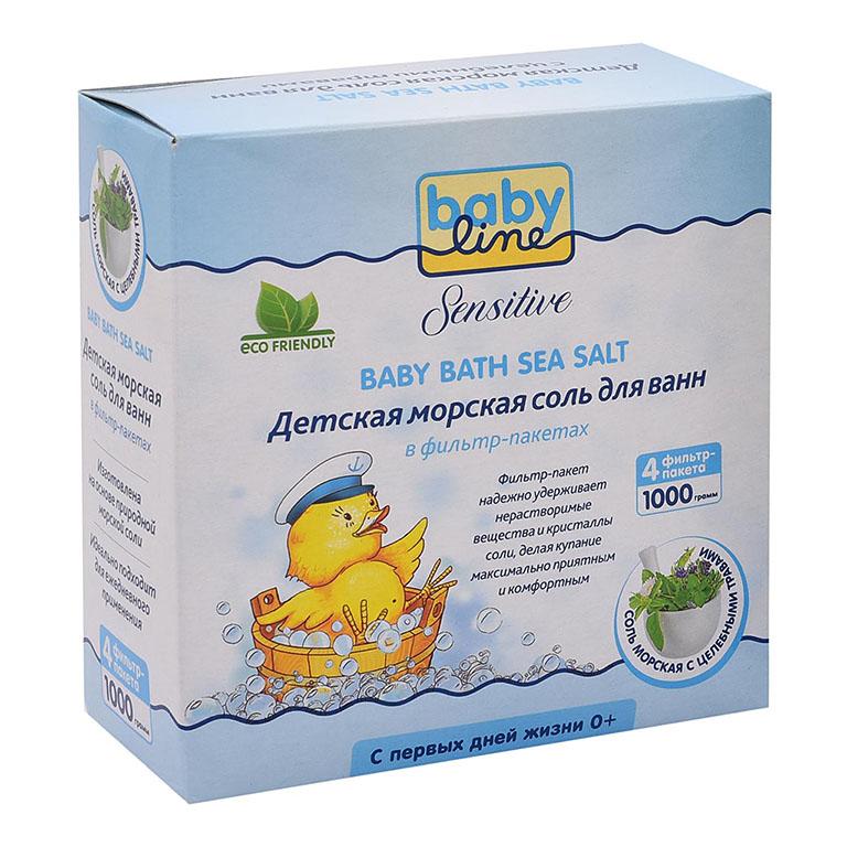 BABYLINE SENSITIVE Детская морская соль дванн с целебными травами,1000г