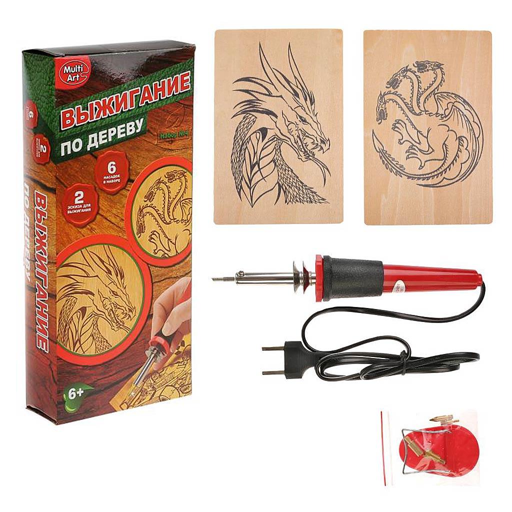 A02738-DRG Набор для выжигания MULTIART: Драконы (выжигательный аппарат, 6 насадок, 2 эскиза)