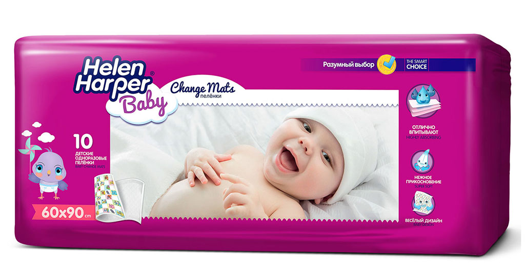 Helen Harper Детские впитывающие пеленки 60х90 10 шт