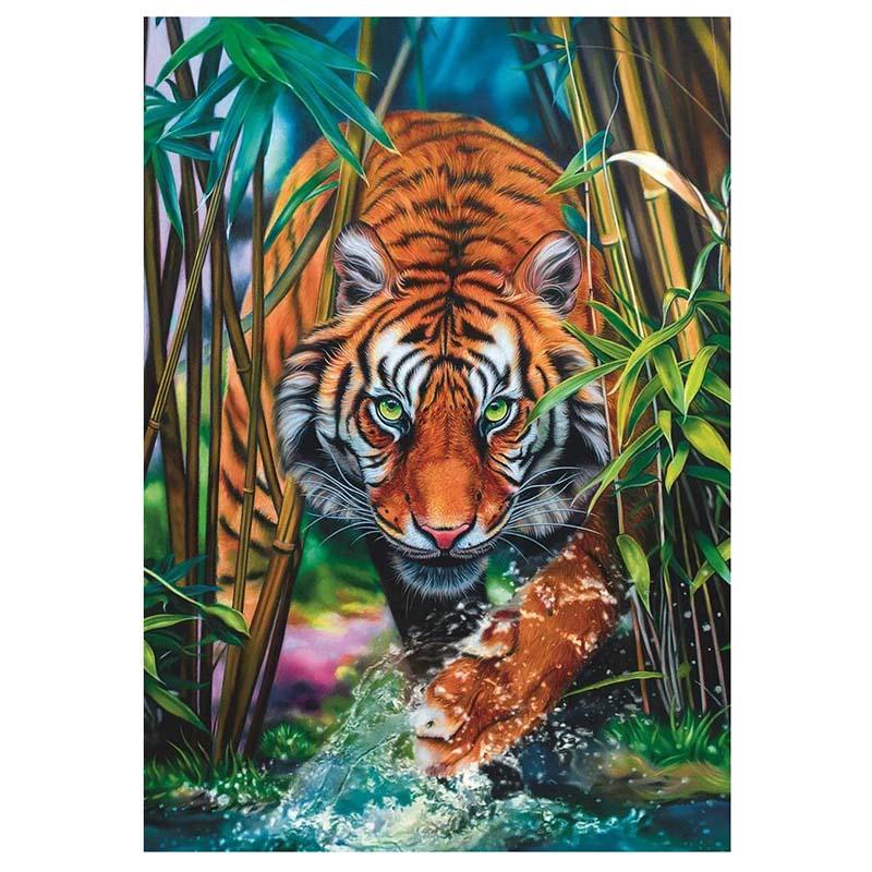 SP40001 Картина из пайеток 40x50 см. Тигр в зелени.