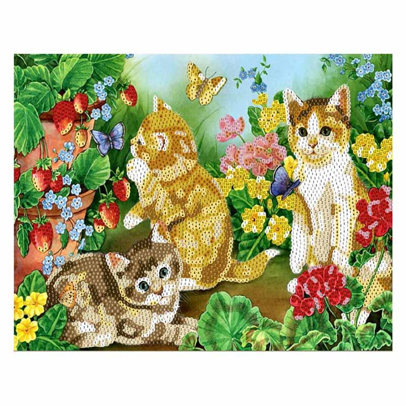 SP40003 Картина из пайеток 40x50 см. Котята в цветах.