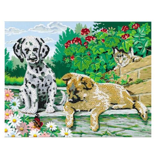 SP40002 Картина из пайеток 40x50 см. Дружные щенки