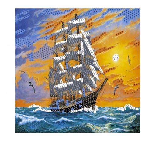 SP30009 Картина из пайеток 30x30 см. Корабль в море