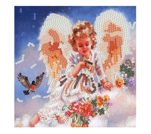 SP30012 Картина из пайеток 30x30 см. Красивый ангелочек