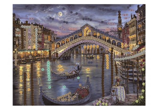 SP240006 Картина из пайеток 24x30 см. Мост в Венеции.