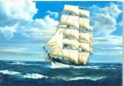 GB276Алмаз. мозаика (класс.) 30х40 см, без подр., с полн. заполн. (28цв). Корабль в ясную погоду.