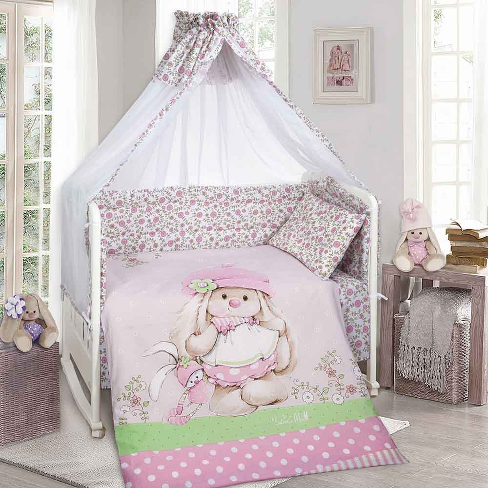 551210 Комплект в кроватку (Зайка на полянке) 9 предметов