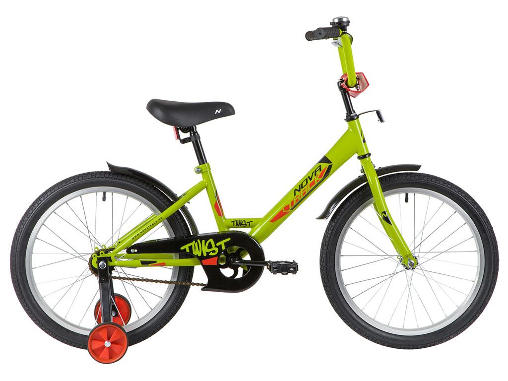 """Велосипед NOVATRACK 18"""" TWIST зелёный, тормоз нож, крылья корот, защита А-тип"""