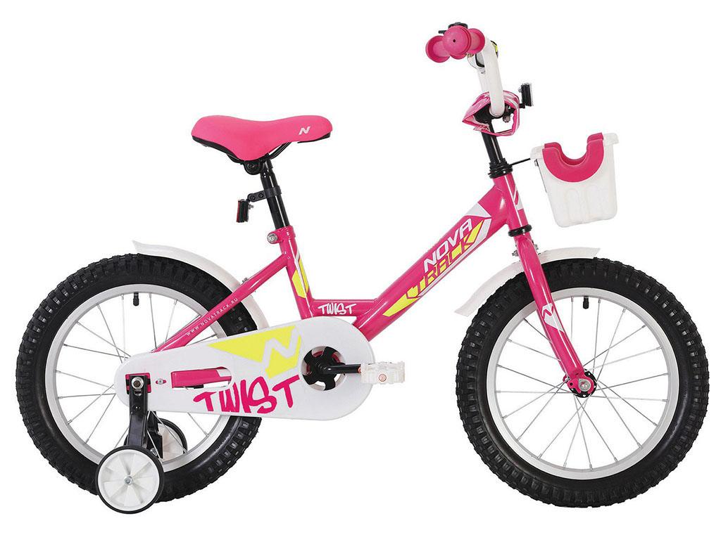 "Велосипед NOVATRACK 16"" TWIST розовый, тормоз нож, крылья корот, полная защ.цепи, корзина"