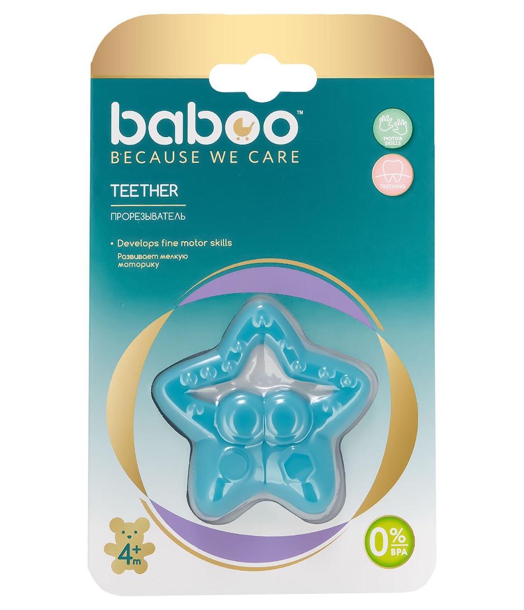 6-008 BABOO Прорезыватель для зубов из силикона. Звезда, 4мес+