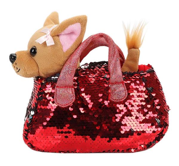 CT-AD191170-RED Мягкая игрушка собачка 15см в красной сумочке из пайеток МОЙ ПИТОМЕЦ
