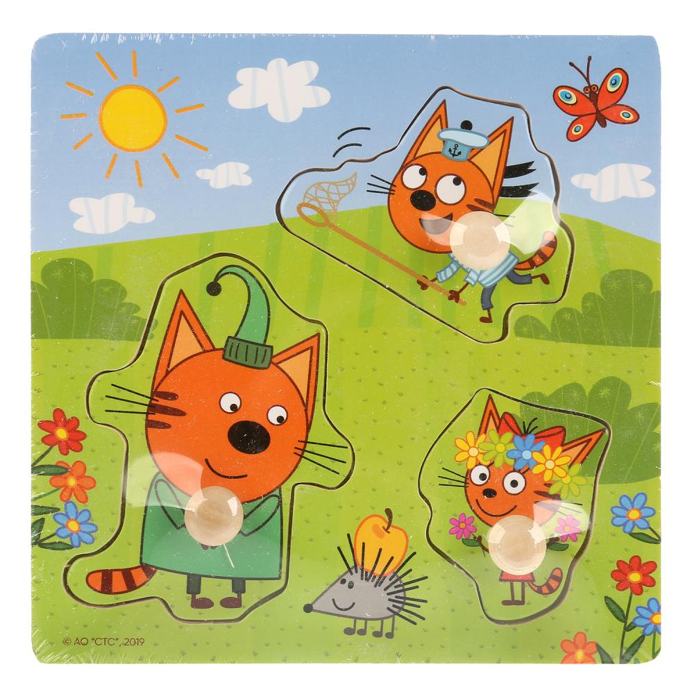 "1002-CATS Игрушка дер. ""Буратино"" ""Три кота"", вкладыши Веселая прогулка, 15х15см"