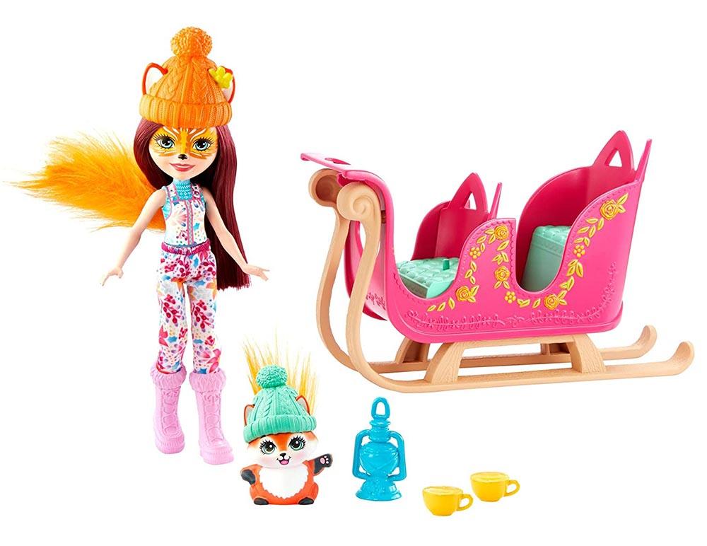 GJX31 Набор игровой Enchantimals Рождественские сани кукла+питомец