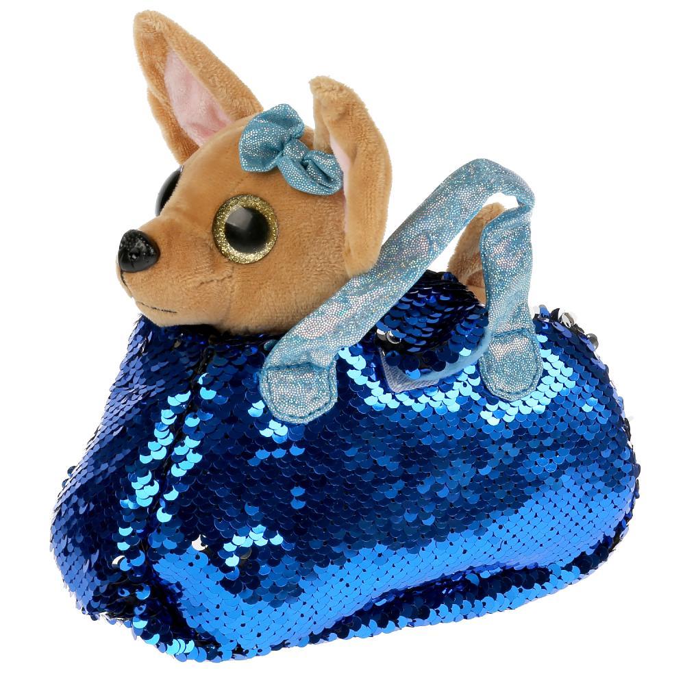 CT-AD191170-BLUE Мягкая игрушка собачка 15см в голубой сумочке из пайеток МОЙ ПИТОМЕЦ