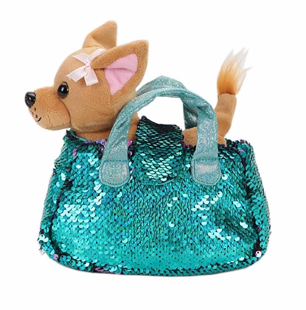 CT-AD191170-POWDER-BLUE Мягкая игрушка собачка 15см в бирюзовой сумочке из пайеток МОЙ ПИТОМЕЦ