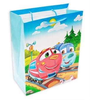 Пакет подарочный, ламинир. 26,4х32,7х13,6см ВЕСЕЛЫЕ ПАРОВОЗИКИ(12 шт. в спайке)(ПР003-0017)