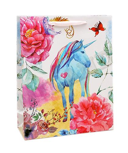 Пакет подарочный Dream Cards с мат лам 26.4х32.7х13.6 Сказочный единорог плотность 210гр ПКП-1404