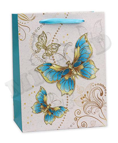 Пакет подарочный Dream cards с мат. лам. и глиттером 18х23х10 см (М) Сказочные бабочки, 210г ПП-4087