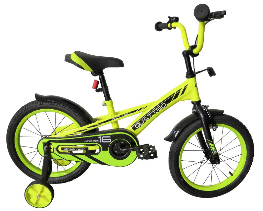 """Велосипед TechTeam Quattro 16"""" неоновый зеленый (сталь)"""
