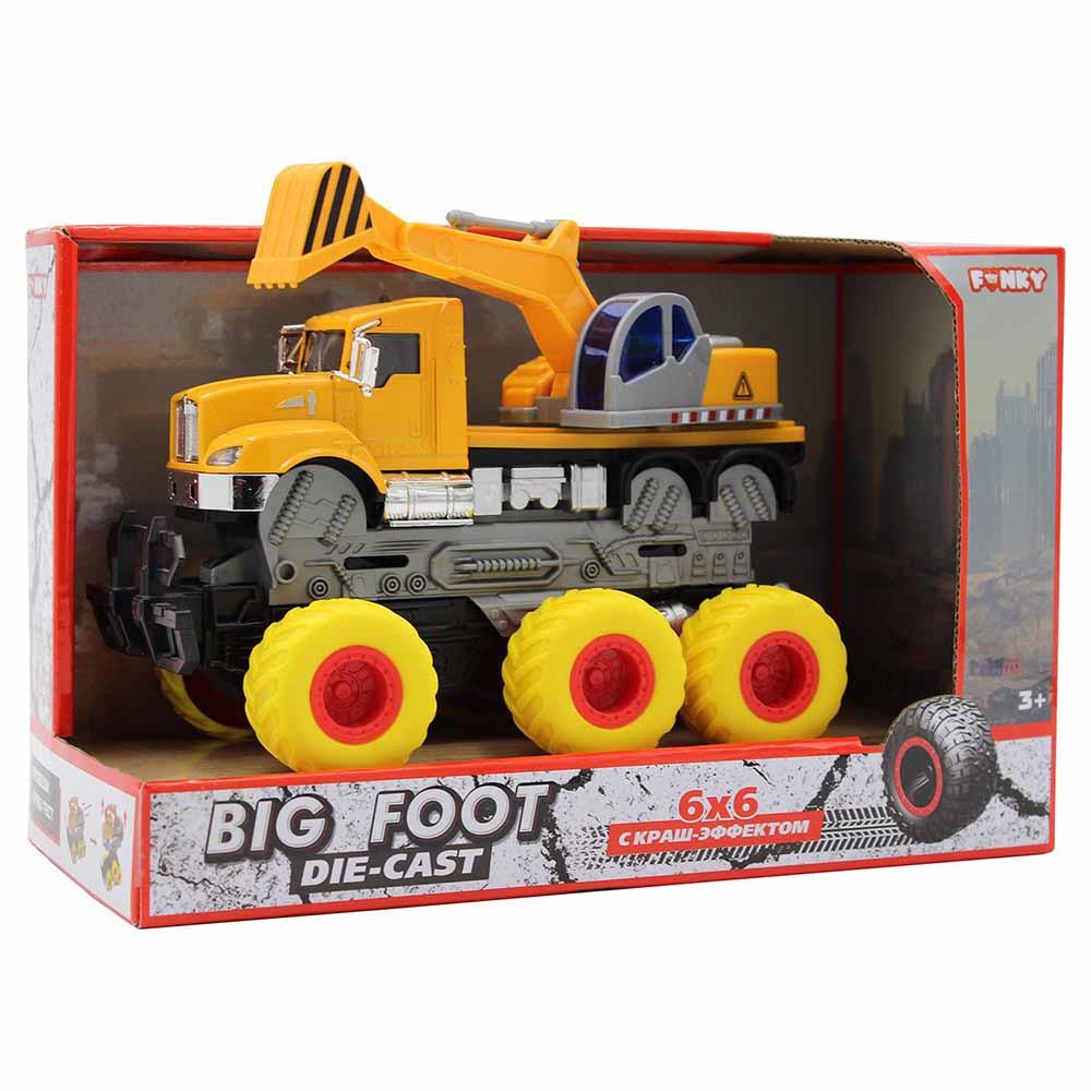 FT61092 Экскаватор с краш-эффектом, кабина die-cast, фрикционная, 6*6, 1:43 Funky toys