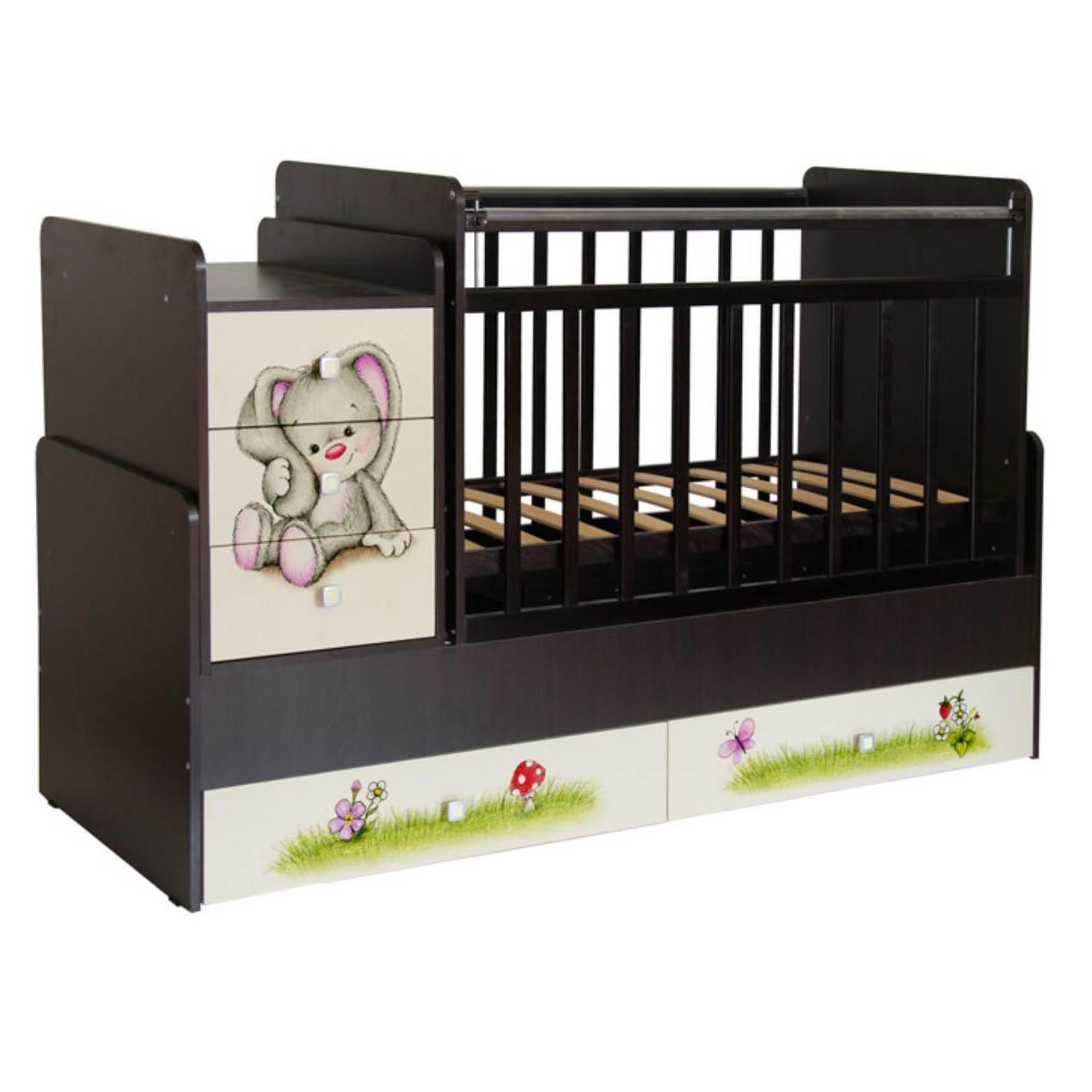 Кровать детская Фея 1100 Зайчонок, венге-бежевый 1033.5.12