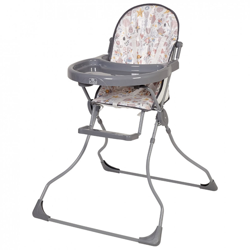 Стульчик для кормления Polini kids 152 Единорог Hello baby, серый 1708-03