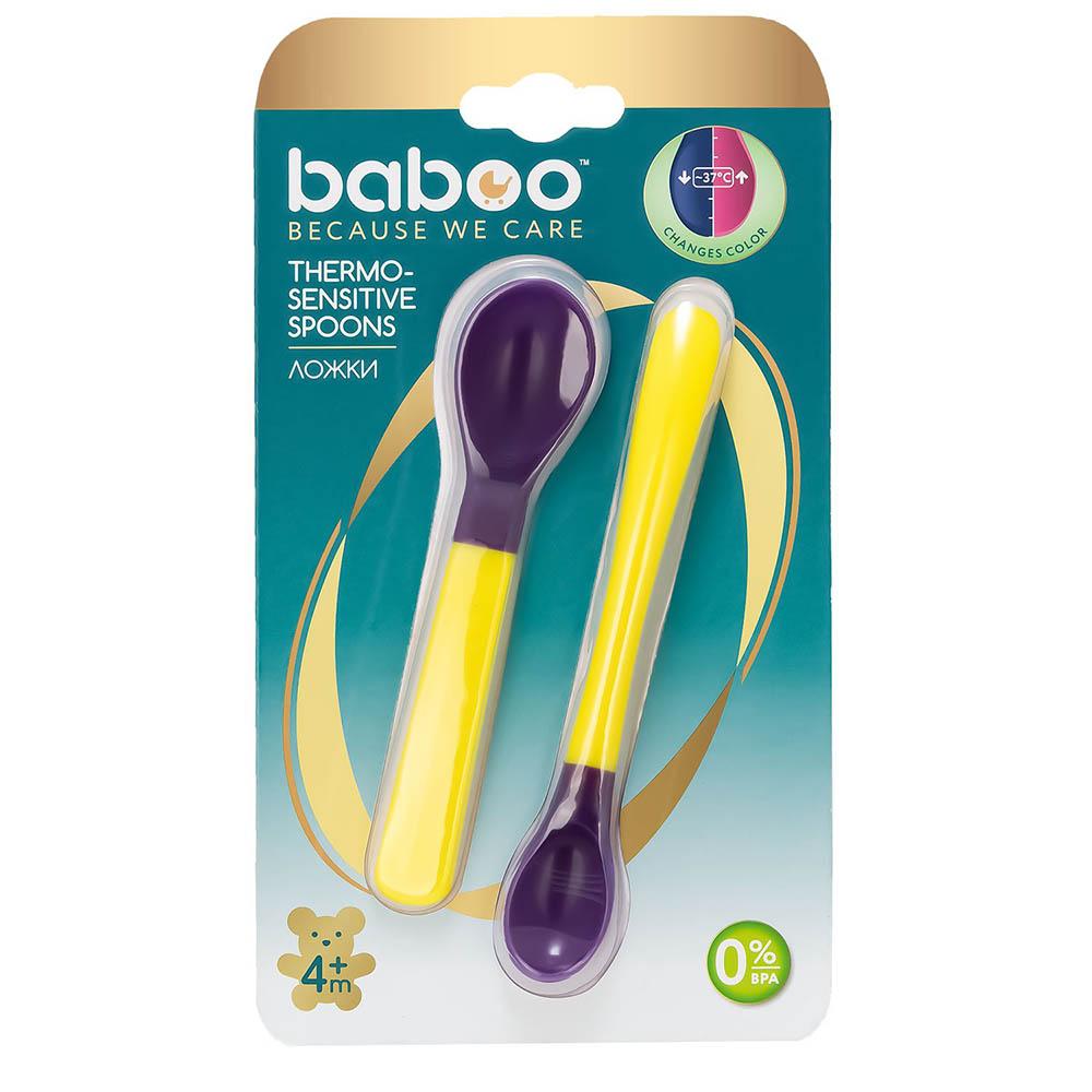 10-021 BABOO Ложки 2шт. термочувствит. желтые