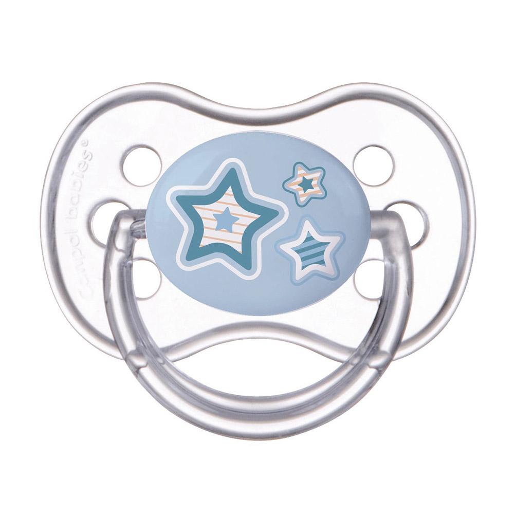 250989185/22/581_blu Пустышка симметричная силиконовая, 6-18 Newborn baby, цвет: голубой