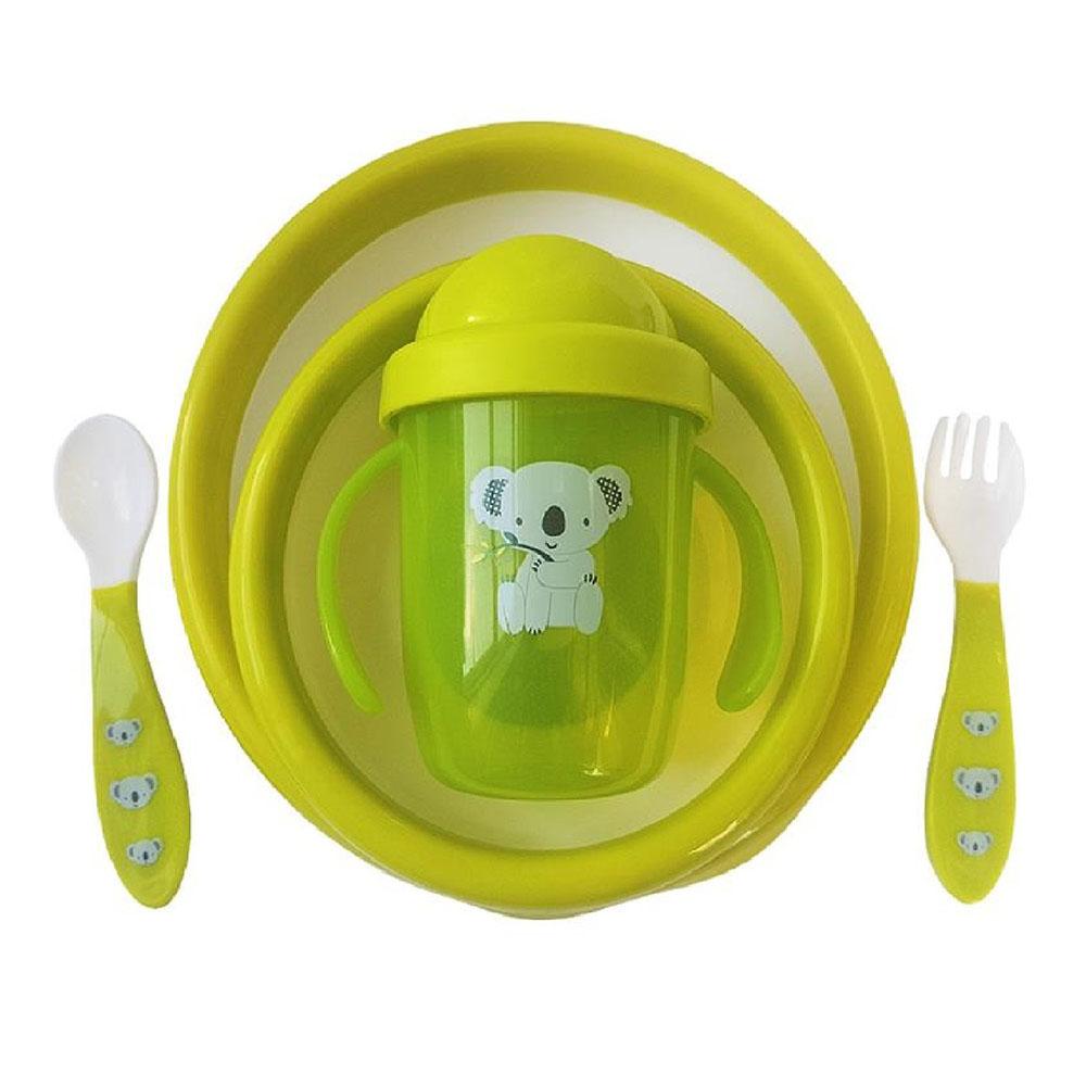 0144/02 Uviton Набор детской посуды (тарелочки, поильник, столовые приборы) зеленый.