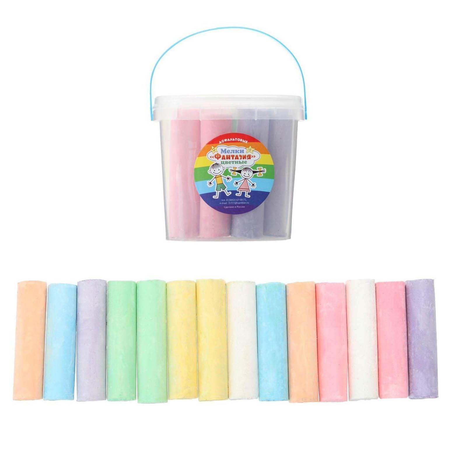 """4905009 Мелки цветные для асфальта 14 штук 7цв Фантазия """"цилиндр"""" 8*2см в ведре"""