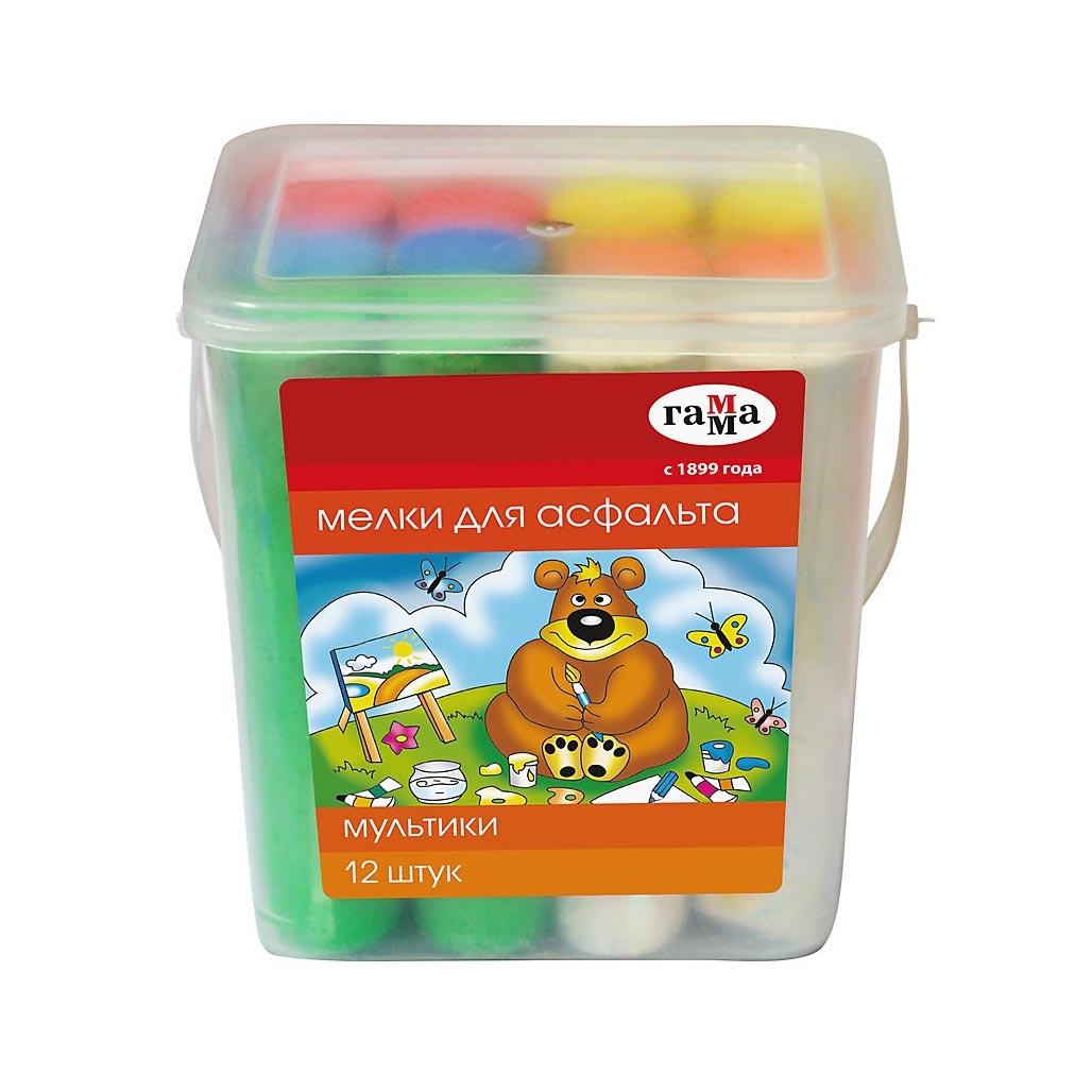 """4493116 Мелки цветные для асфальта 12шт Гамма """"Мультики"""", пластиковое ведро, круглые  (1704192)"""