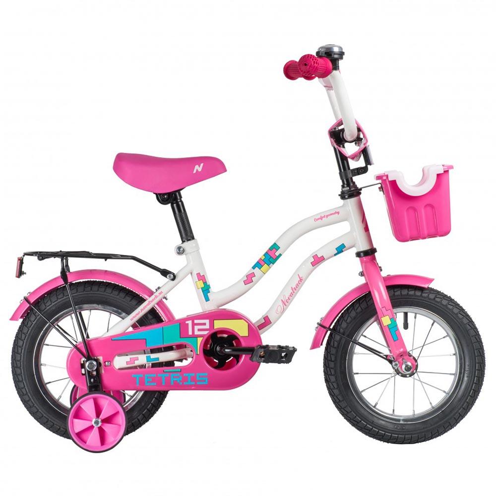 """Велосипед NOVATRACK 12"""", TETRIS, фиолетовый,тормоз нож.,крылья цвет,багажник хромир."""