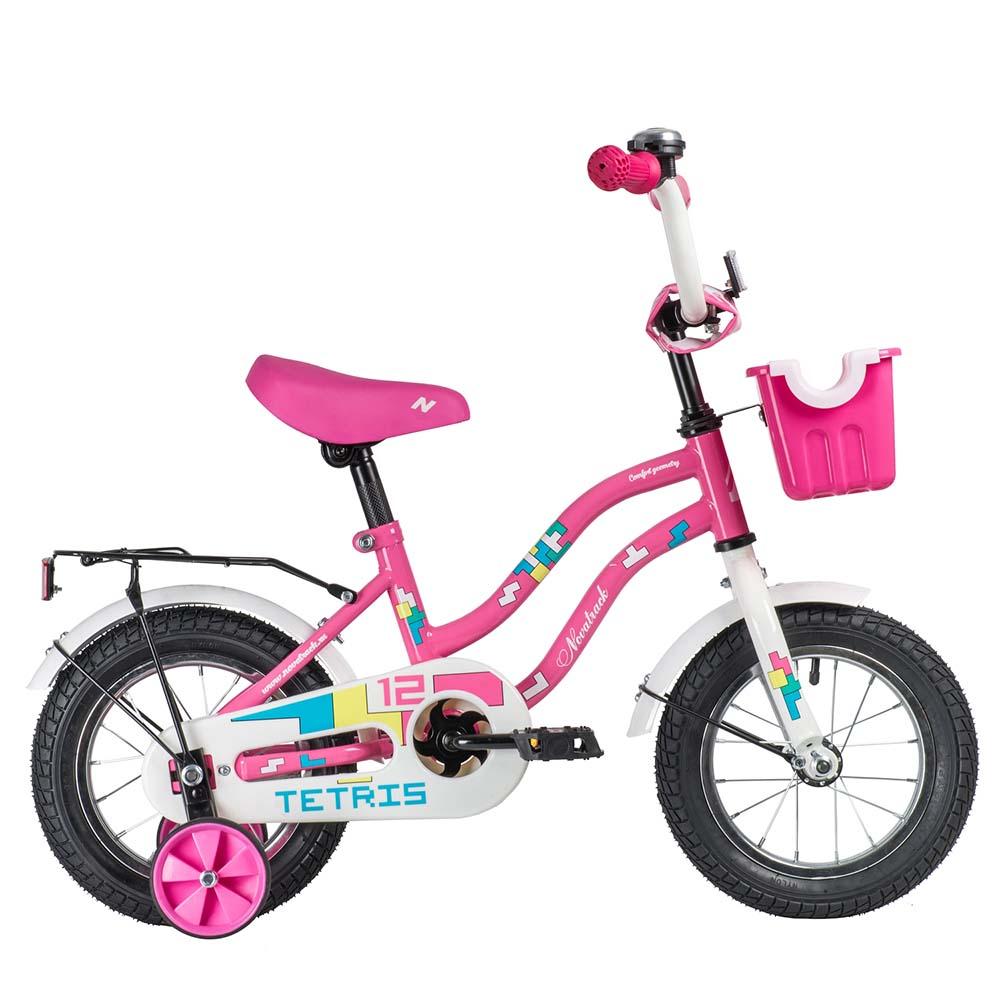 """Велосипед NOVATRACK 12"""", TETRIS, розовый,тормоз нож.,крылья цвет.,багажник хромир."""