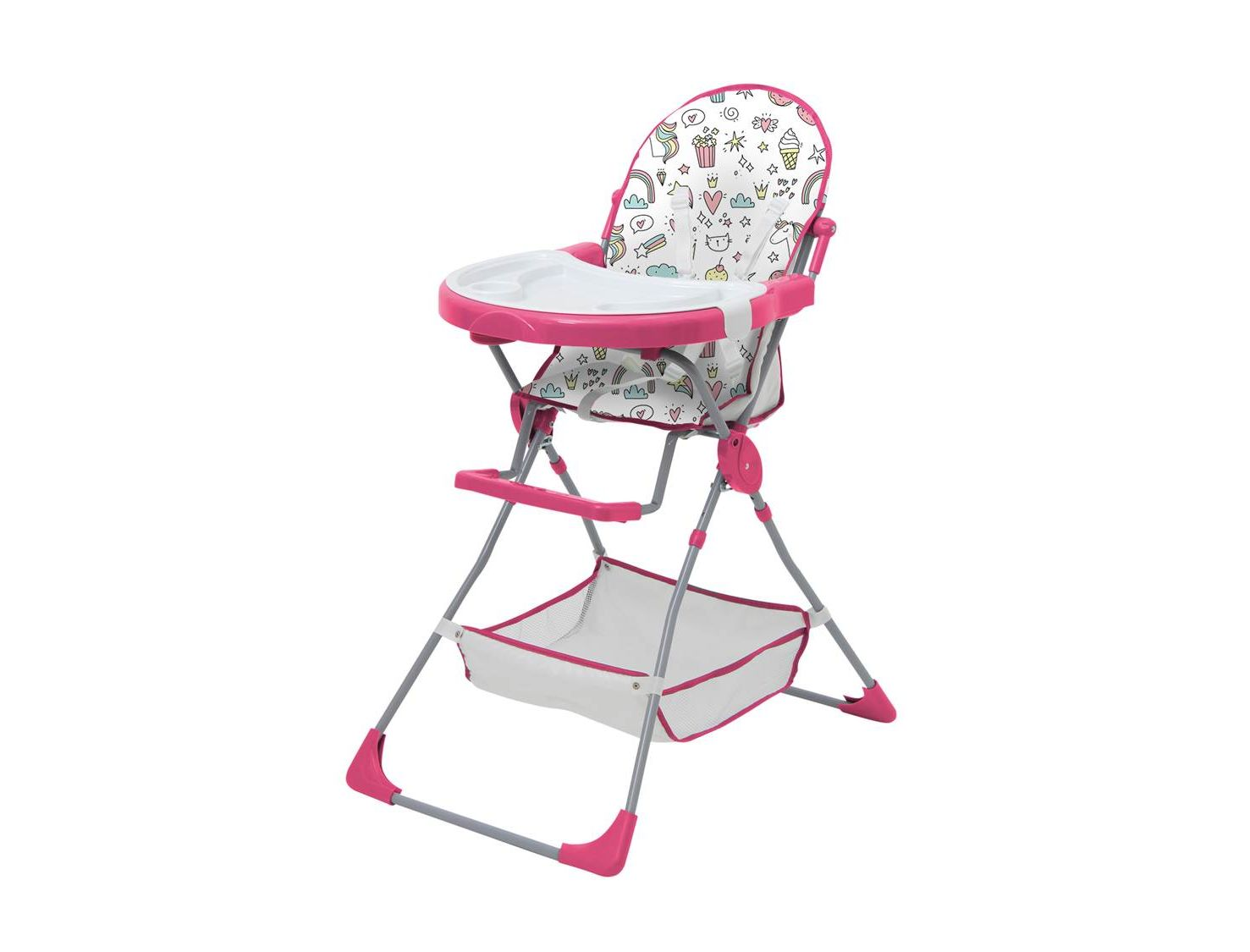 Стульчик для кормления Polini kids 252 Единорог Сладости, розовый