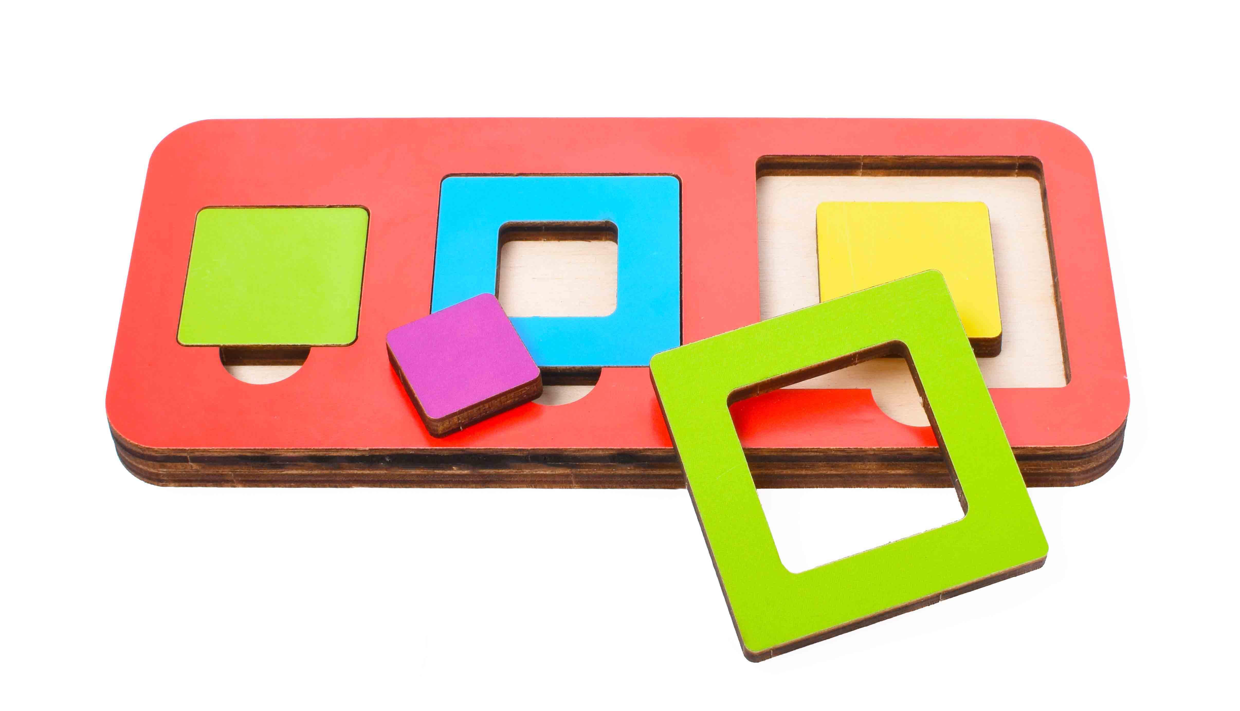 Игрушка детская:04098 Вкладыш 6 элементов  квадрат (по системе раннего развития) цвет в асс-те