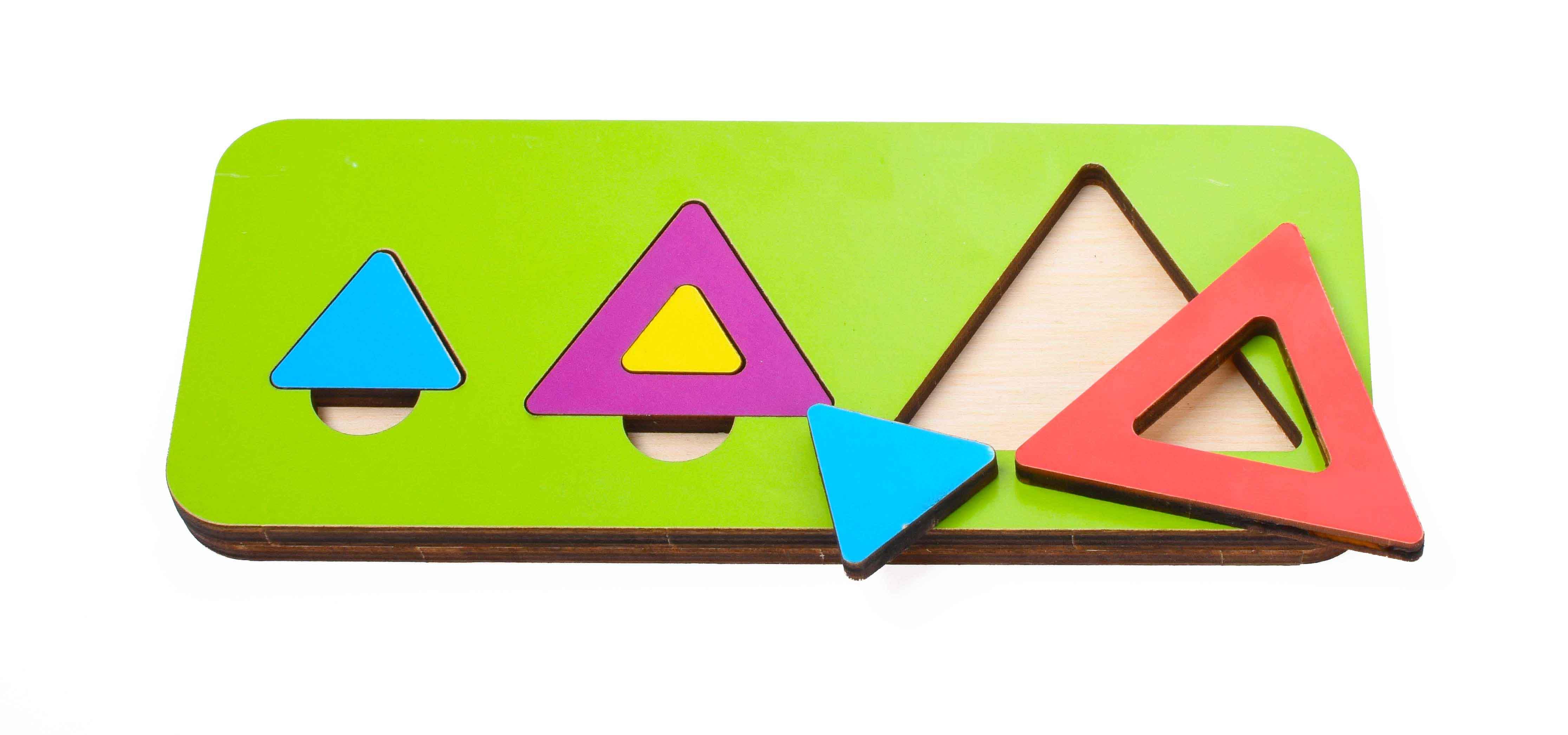 Игрушка детская:04078 Вкладыш 6 элементов треугольник (по системе раннего развития) цвет в асс-те