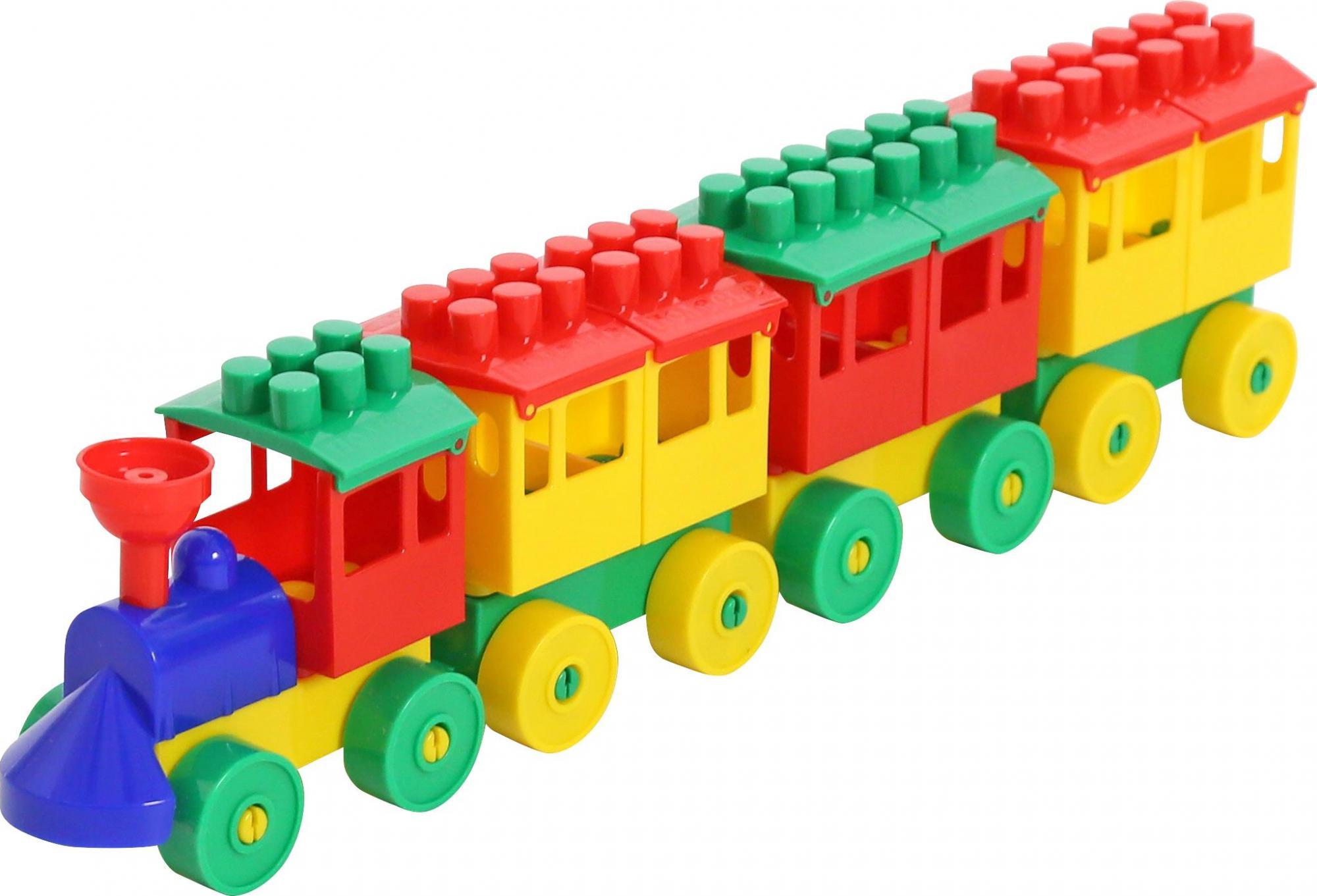 Конструктор - Паровоз с тремя вагонами 2051