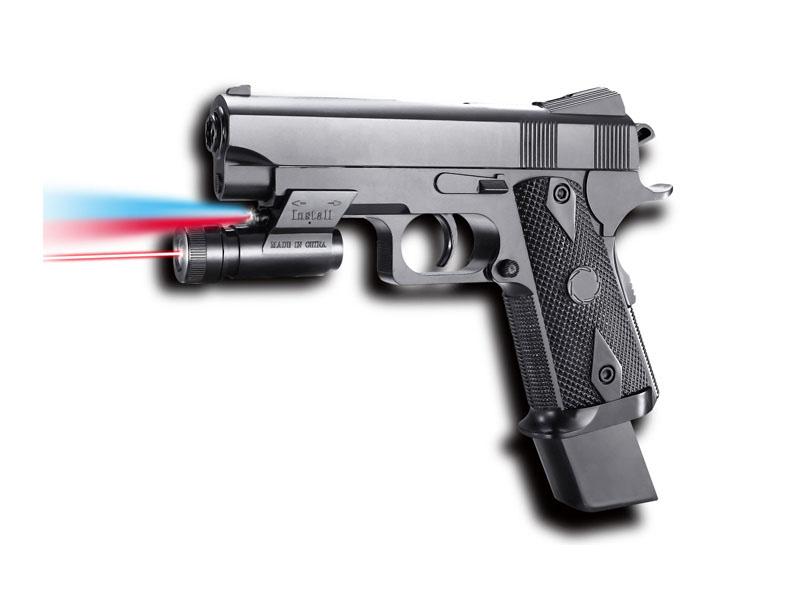 Пистолет 20,5см с фонариком и лазерным прицелом на бат. в кор. 2112-A2-BB
