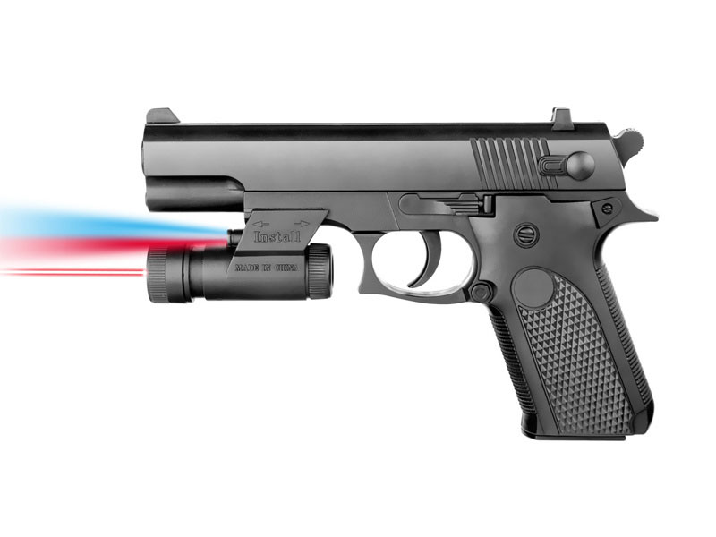 Пистолет 17см с фонариком и лазерным прицелом на бат. в кор 037A-BB