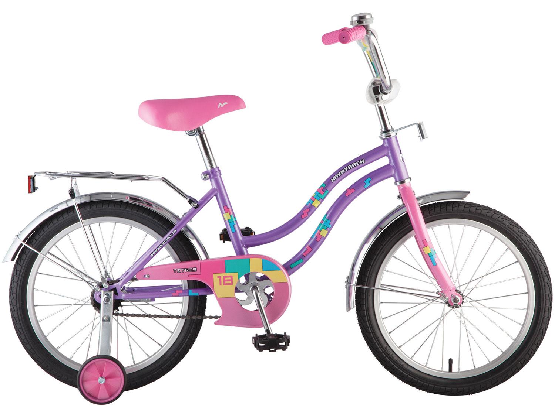 """Велосипед NOVATRACK 14"""", TETRIS, фиолетовый,тормоз нож.,крылья цвет,багажник хромир.,"""