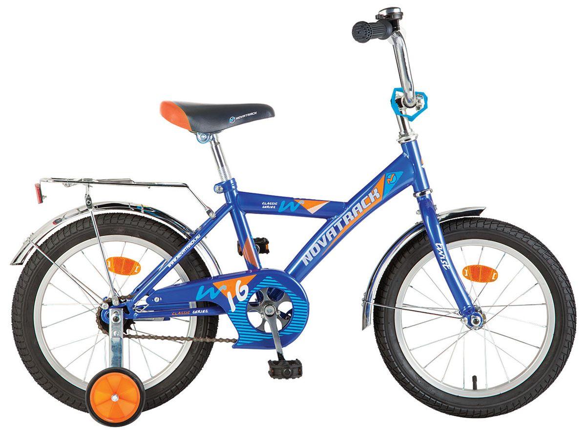 "Велосипед NOVATRACK 16"" TWIST,17370 синий, тормоз нож, крылья цвет, багажник хром. #117042"