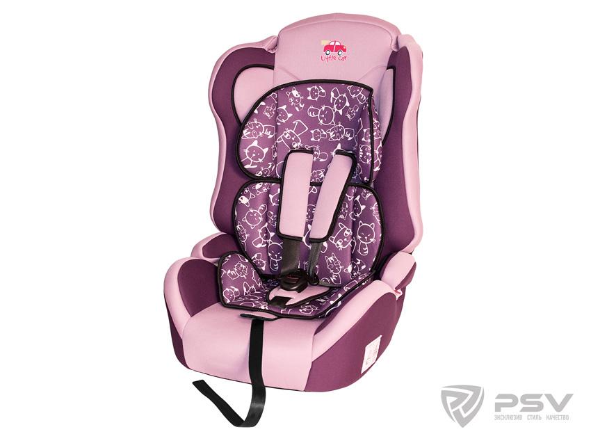 Автокресло детское 9-36кг. Little Car Comfort коты-фиолетовый