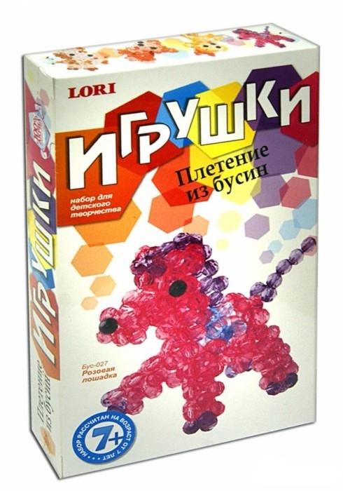 """Плетение из бусин """"Розовая лошадка"""" Бус-027"""