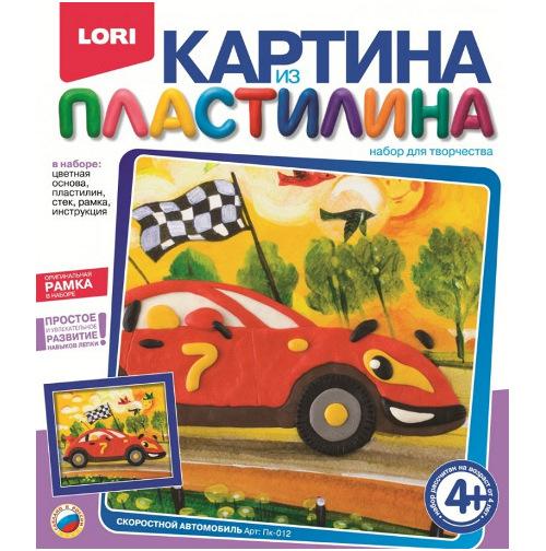 """Картина из пластилина """"Скоростной автомобиль"""" Пк-012"""