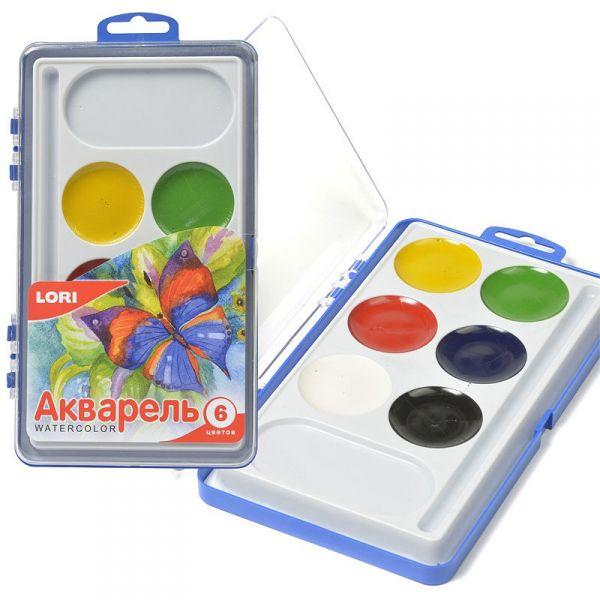 Акварельная краска в пластм уп (большая) 6цв. б/к Акв-001