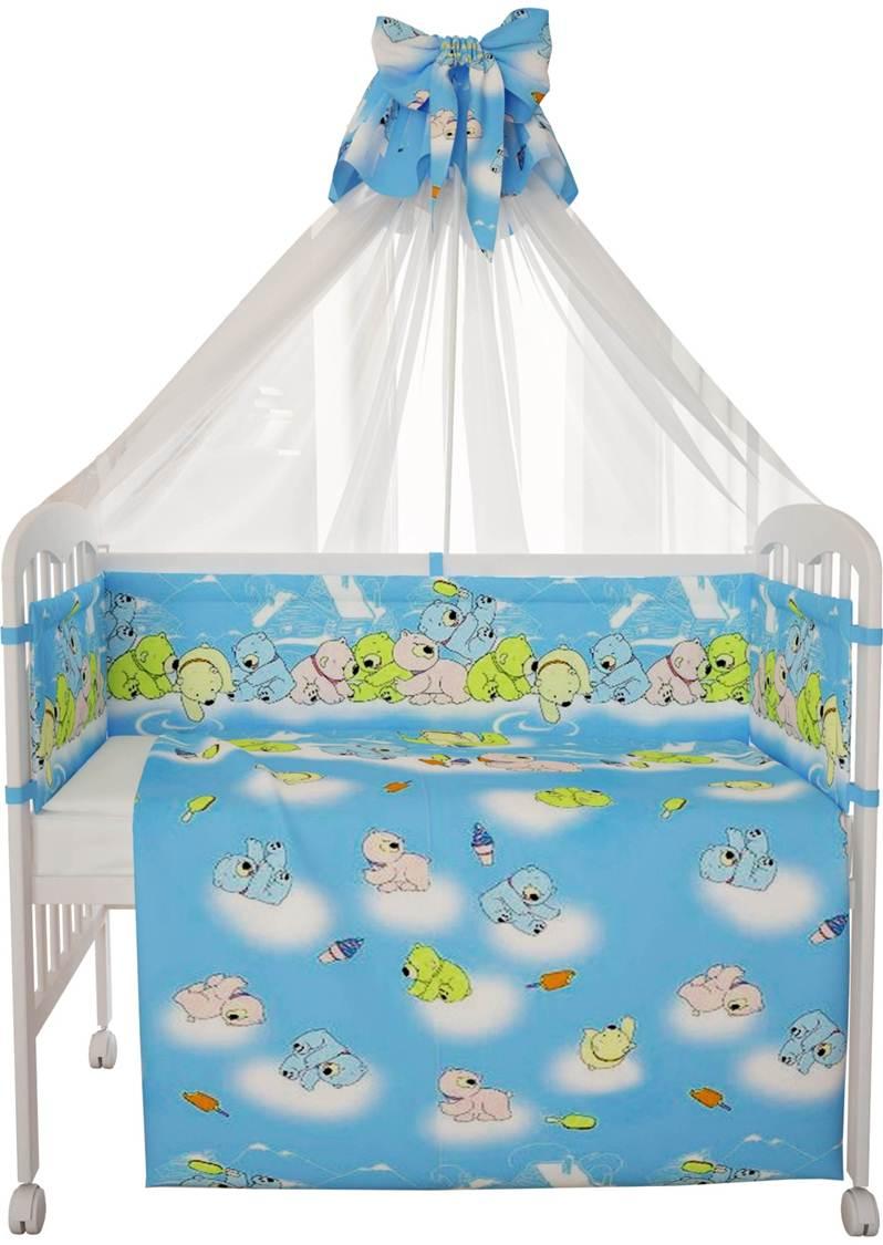 """Комплект в кроватку Фея """"Мишки"""" 7 предметов, голубой"""