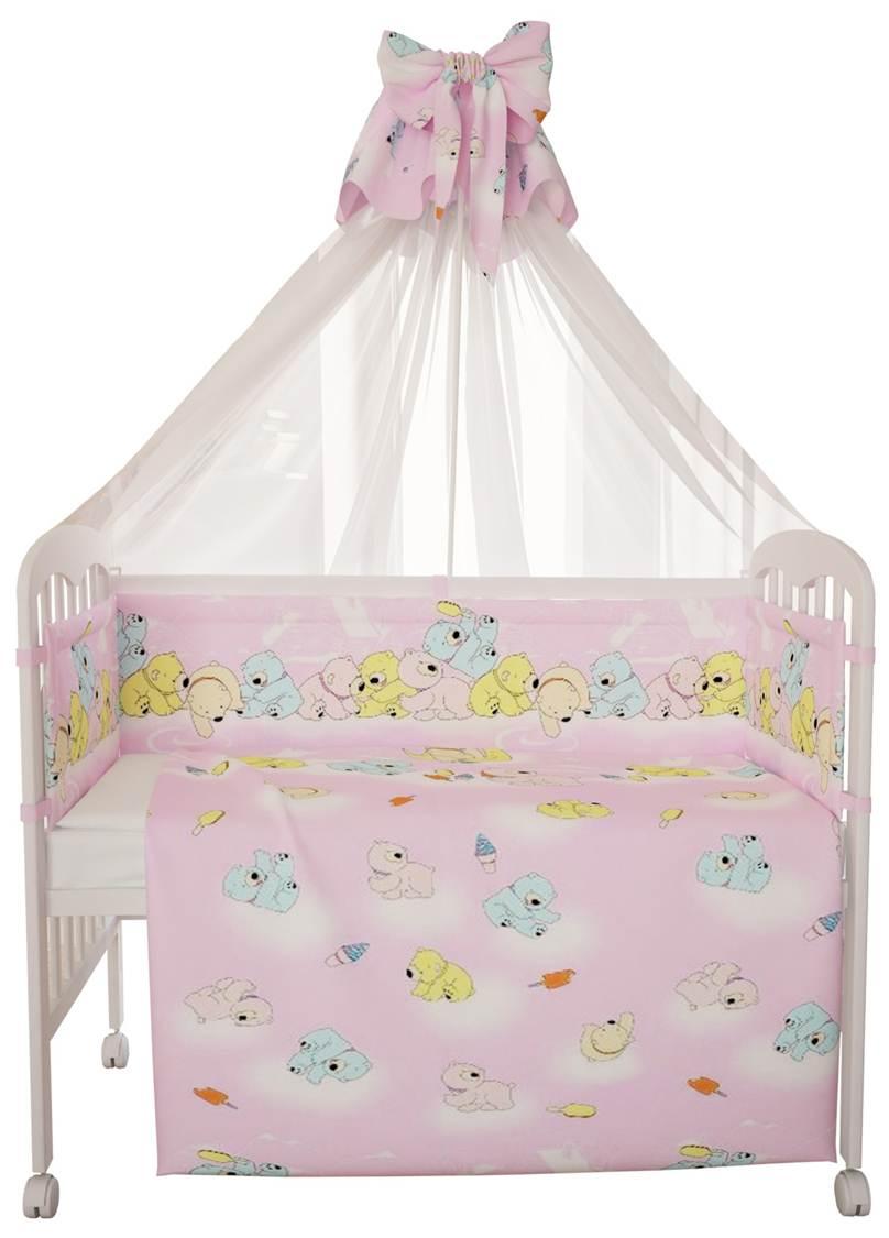 """Комплект в кроватку Фея """"Мишки"""" 7 предметов, розовый"""