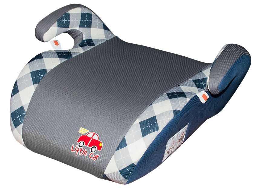Бустер детский 22-36кг. Little Car Smart клетка-синий 125790