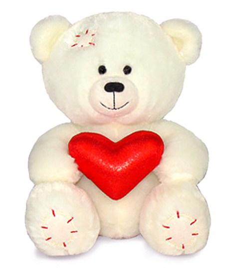 Медвежонок Масик белый с сердцем муз 8546E