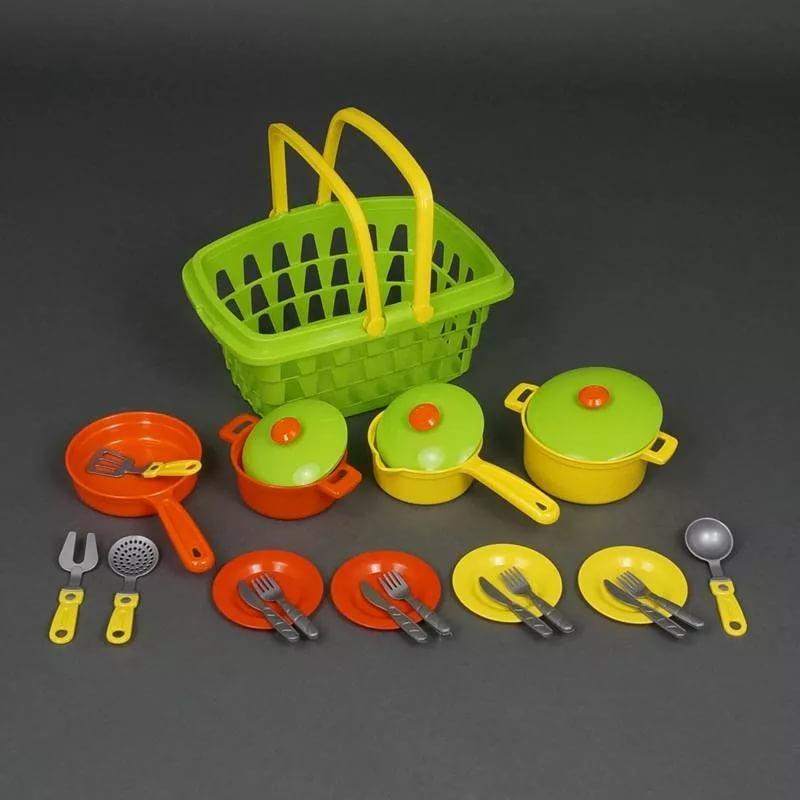 Набор 4456  посуды в корзине (4шт
